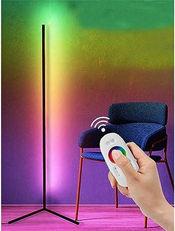 Gdfgth Hoekvloerlamp Led Dimbare Vloerlamp Met Rgb Kleurverandering En Afstandsbediening Moderne Minimalistische Sfeervolle Hoekverlichting Voor Woonkamer Slaapkamer Kantoor 140cm X 40cm Black Amazon Nl