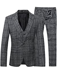 Mens 3-Piece Suit Plaid Modern Fit Single Breasted Smart Formal Wedding Suits
