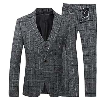 Men's Suit Plaid Modern Fit Notch Lapel Grey Checked 3-Piece Suit Blazer (Small, Grey)