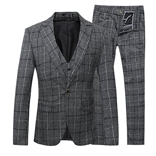 Dress Modern Tartan (Mens 3-Piece Suit Plaid Modern Fit Single Breasted Smart Formal Wedding)