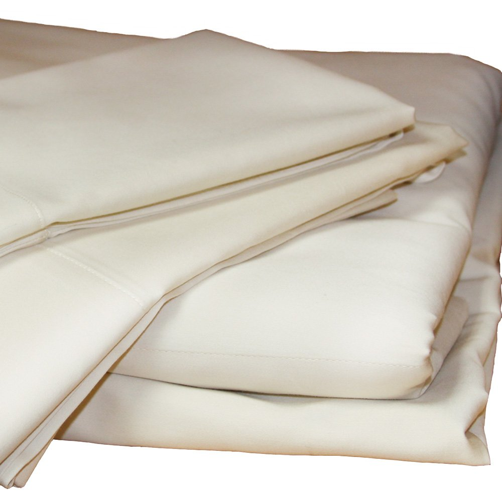 Organic Cotton Sheets Set by Lifekind Organic- GOTS Certified, 300 Thread Count, Sateen (Twin XL, Ivory)
