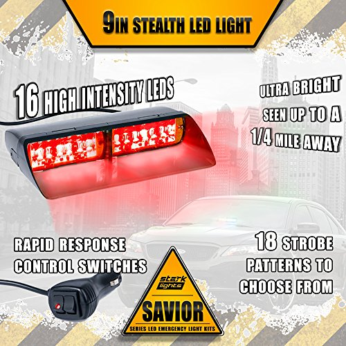 16 LED Emergency Dash Light Dual Rapid Switch Windshield Warning Hazard Safety 17 Flashing Strobe Modes Car Truck Vehicle Law Enforcement Police - Red -