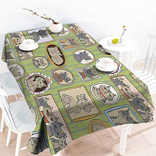 Waterproof Tablecloth Cat Lover Decor Collection Framed Pictures of Cute Cats on The Wall Decorating Lovely Memories Moments Green Mustard Gray Table Decoration W52 xL72