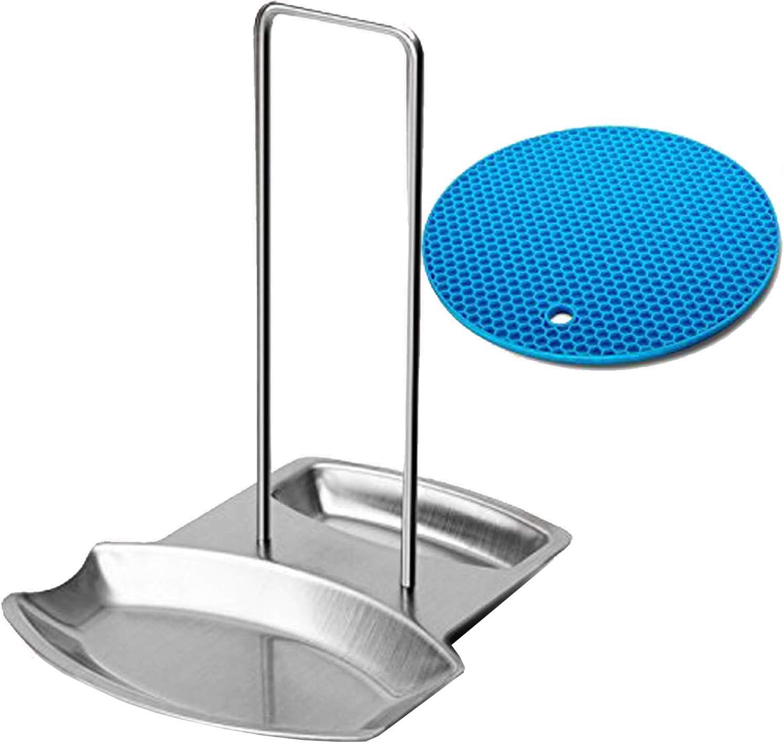Cacerola Tapa y Cuchara Resto non-slippery diseño con silicona Pot Holder Soporte para utensilios de cocina de almacenamiento Rack, cocina escritorio soluciones, acero inoxidable: Amazon.es: Hogar