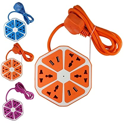 SHOPEE Branded Hexagon Socket Extension Cord Board with 4 USB 2.0Amp Charging Point (Color May Very)