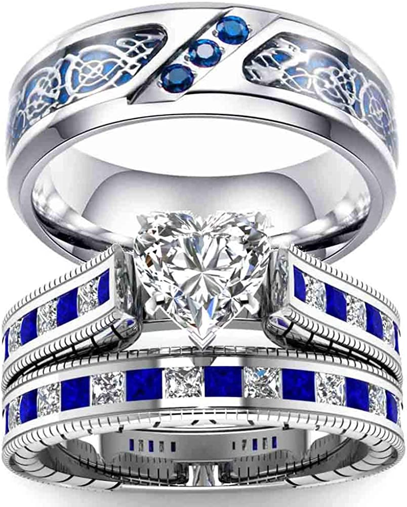 Ringcrown Blue Cz Couple Rings White Gold Filled Heart Womens Wedding Ring Sets Titanium Steel Man Wedding Band(Please Buy 2 Rings for 1 Pair)