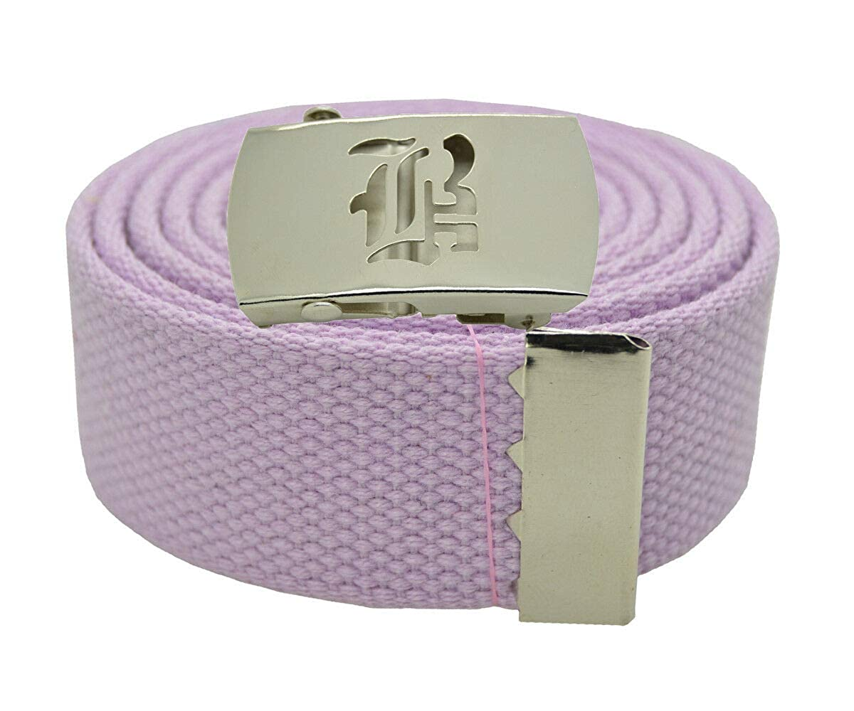 LAVENDER #AAAS Stylish Canvas Military Web Belt /& BIGB Silver Buckle 72 Inches