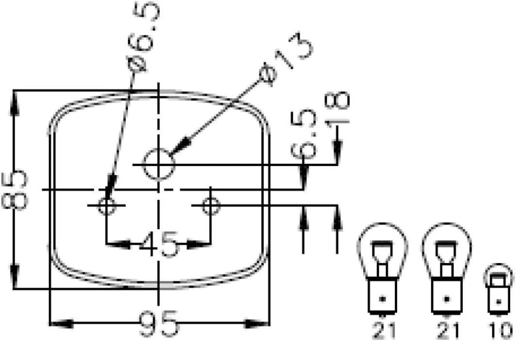 Flachsteckanschluss Dreikammerleuchte links Geka mit KZL