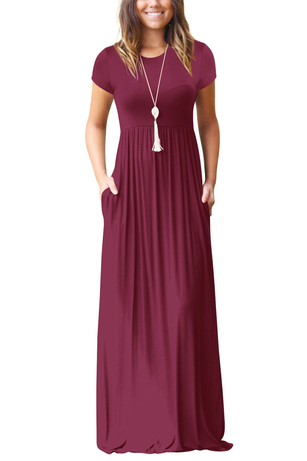 Dasbayla Women's Casual Long/Short Sleeve Maxi Dress with Pockets MD6888