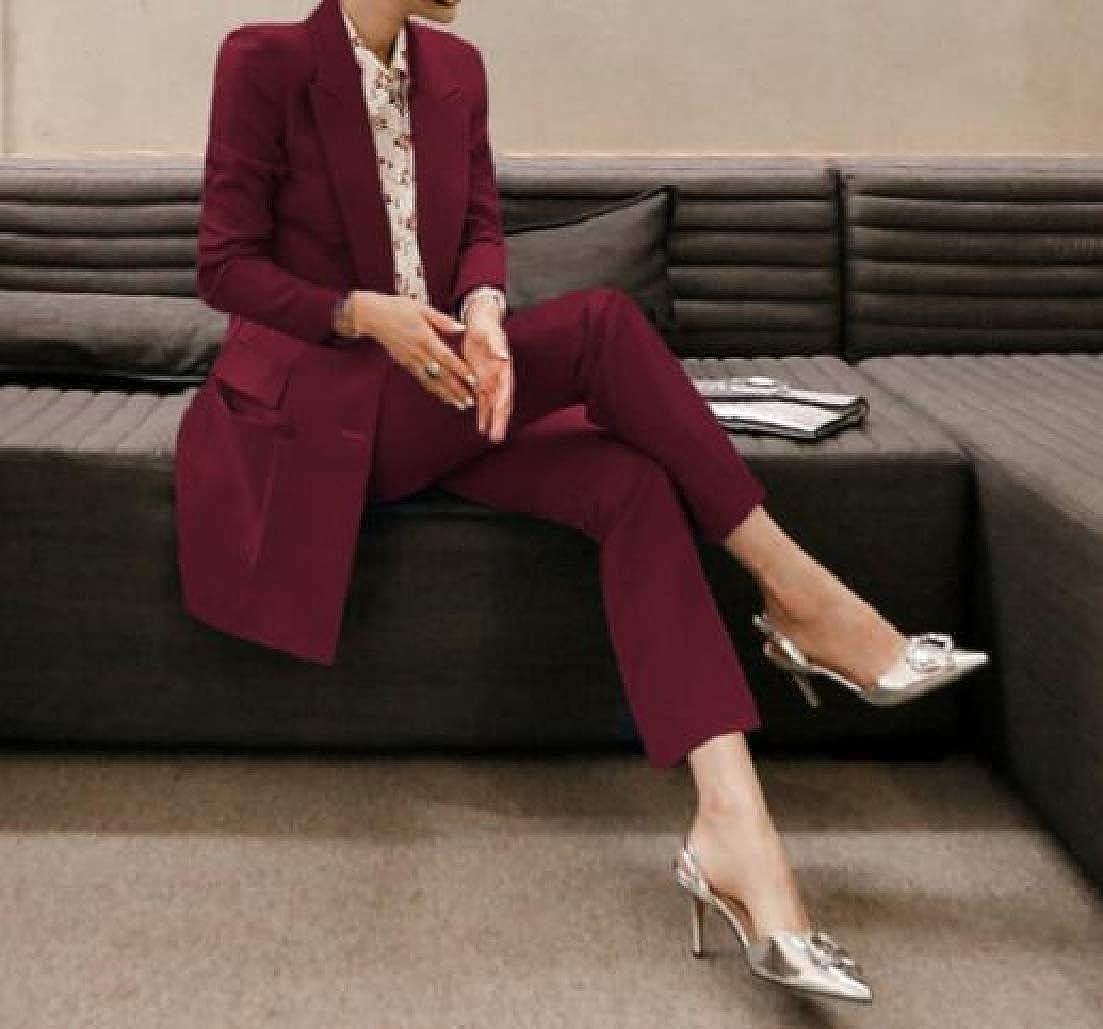 Générique Combinaison élégante à Manches Longues avec Pantalon pour Femme Rouge Vin