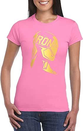 Pink Female Gildan Short Sleeve T-Shirt - Ironman Side Bust – Gold design