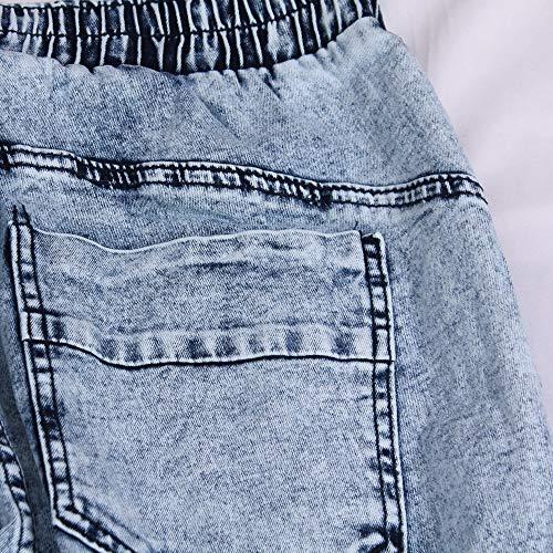 Uomo Uomo Pantaloni Denim Casual Tinta Jeans In La Da Matita Blu Chiaro Unita Jiameng Sottile Con wRETT
