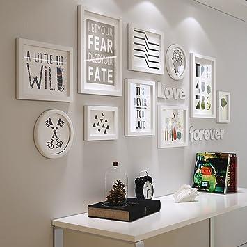 Bilderrahmen Collage Massivholz Kombination Wohnzimmer Rahmen Hängende Wand  Kreative Hintergrund Wand Dekoration ( Farbe : Weiß