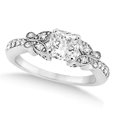 Image Unavailable. Image not available for. Color  Butterfly Design Princess  Shaped Diamond Engagement Ring ... 64d14716d