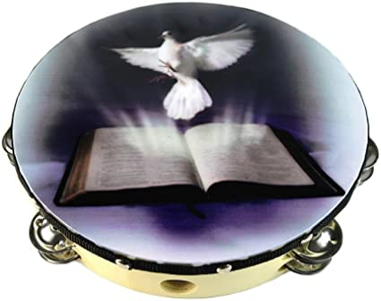 Dove Bible Double Row Jingle Percussion Instrument for Church Tambourine