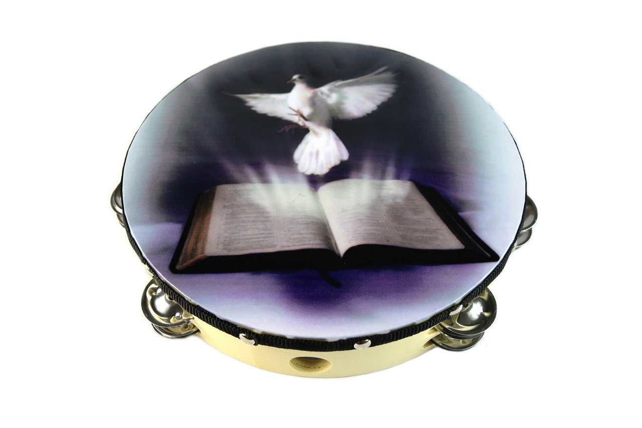 Tambourine 10'' Dove Bible Double Row Jingle Percussion Instrument for Church by Zebra Sounds