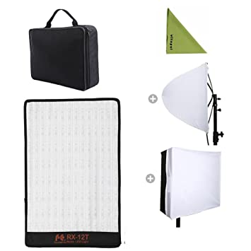 Falcon Eyes RX-12T Kit 280 Lights Lightweight Roll-Flex LED Light  Waterproof Lamp with Softbox Diffuser (RX-12T with Diffuser)