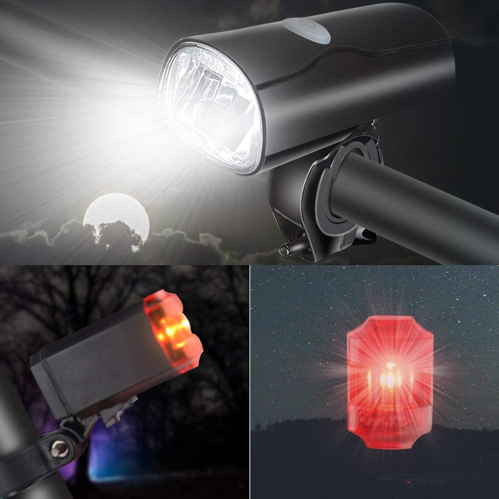 Opard LED Bicycle Light Set with Approved USB Rechargeable Front Light and Rear Light Set 2 Light Modes for Mountain Bike Multiway