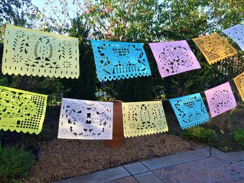 - MesaChic MEXICN PAPEL PICADO Banner PASTEL colors LARGE PAPER 18' feet long Bunting