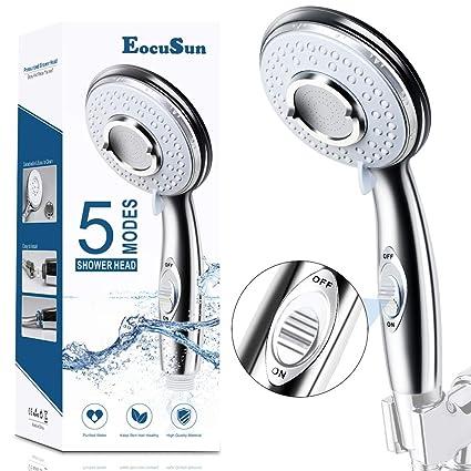 Universal High Pressure Shower Head Chrome Square Filter Handset Water Saving UK