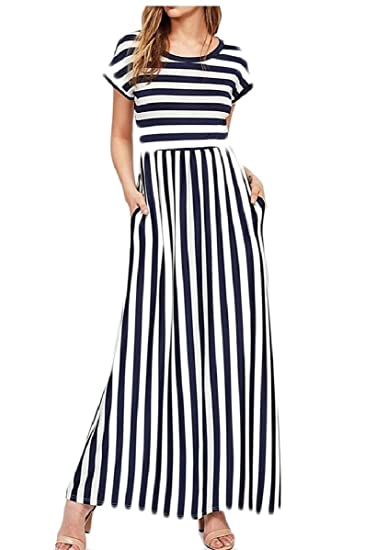 48a369e00c191 WSPLYSPJY Women's Summer Sleeveless Striped Pockets Flowy Casual Long Maxi  Dress at Amazon Women's Clothing store: