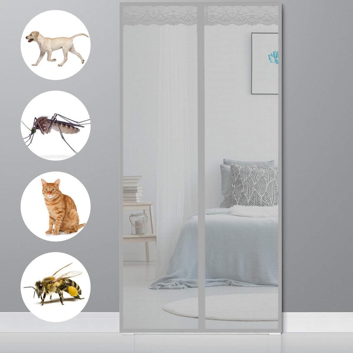 Grau 100x215cm Magnetvorhang T/ür Insektenschutz Fliegenvorhang H/äNde Frei f/ür Balkont/ür Terrassent/ür Wohnzimmer Magnet Fliegengitter T/ür Balkont/ür