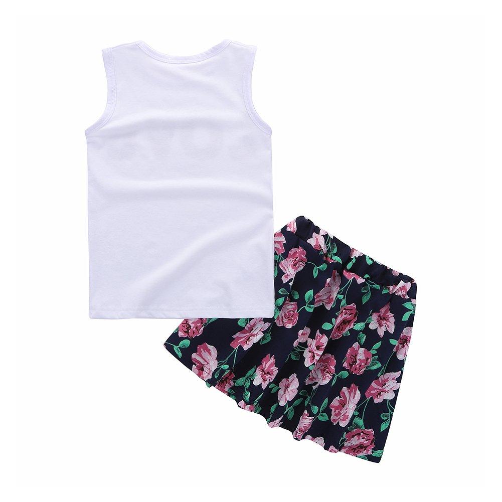 Motecity Girls' Skirt Set Flower Love Size 5 White-Navy by Motecity (Image #2)