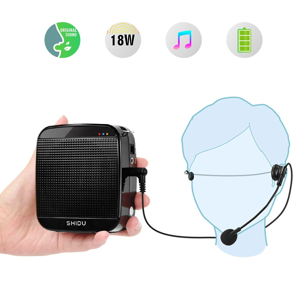 Voice Amplifier,SHIDU Mini Voice Amplifier with Wired Microphone Headset 18W Portable Personal Speaker MP3 Audio Sound System for Teachers,Elderly,Singing,Coaches,Yoga,Tour Guides,Outdoor Trainers
