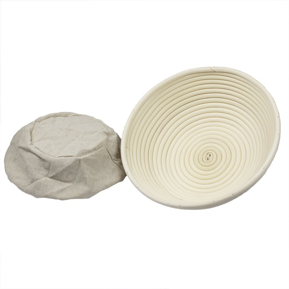 BabyFoxy 2 pack of 7'' Round Brotform Banneton Bread Proofing Baskets with a bread dough whisk (Bonus Linen Cover) (7 inch) by BabyFoxy (Image #2)