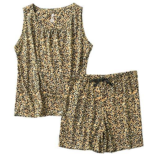 ENJOYNIGHT Women's Cute Sleeveless Print Tee and Shorts Sleepwear Tank Top Pajama Set (XX-Large, Leopard)