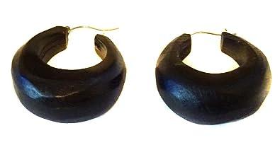 Amazon Com Black Wood Hoop Earrings 1 5 Inch Vintage Bohemian Style