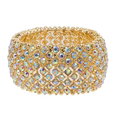 Lavencious Tennis Rhinestone Stretch Bracelets Adjustable Jewelry Party for  Woman Bangle (Gold - AB) f612fd6ed10d
