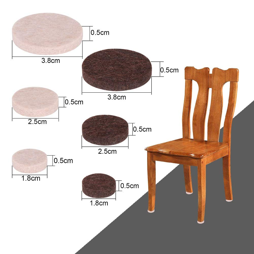H/&S Furniture Felt Pads 124pcs Self Adhesive Chair Leg Feet Protectors Pads for Hardwood Wooden Floors Small Large 60 Felt Pads 64 Rubber Bumpers