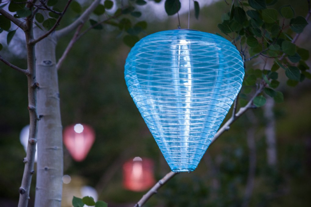 Allsop Home and Garden 10'' x 12'' Teardrop Silk Effects LED Outdoor Solar Lantern, Handmade with Weather-Resistant UV Rated Fabric, Stainless Steel Hardware, Chinese Style Light, Pearl, 1-Count
