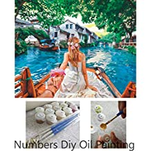 Aksuo Paint by Numbers Kits Diy Canvas Oil Painting for Kids, Students, Adults Beginner - Amateur couple in water 16 x 20 inch with Brushes and Acrylic Pigment(Without Framed)