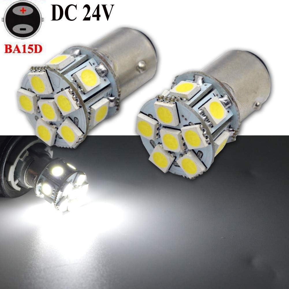 2 x BA15D 1142 1078 DC 24 V Super Bright 5050 12SMD Chipsets Blanco Bombilla LED de repuesto para luz de marcha atrás, luz intermitente, luz trasera