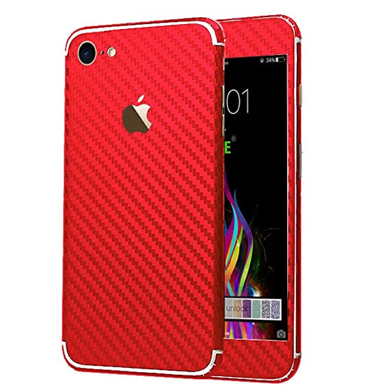 cheap for discount 69961 05cd7 iPhone 7 Sticker, Toeoe Luxury 3D Textured Carbon Fibre Decal Skin with a  Clear Case for iPhone 7 Red
