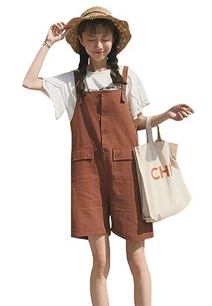 39e57c86a0dfeb EHAME ショートパンツ レディース サロペット ショート丈 無地 綿 夏 短パン 5分丈 ポケット付き