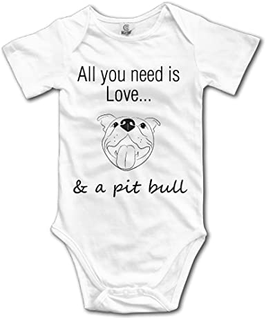 Love Pitbull Infant Baby Sleeveless Bodysuit Romper