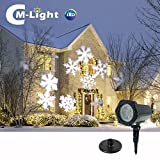 Christmas Snowflakes Projector Light - Moving White Landscape LED Spotlight - Stake Lamp For Christmas Halloween Decorations Garden Holiday Decor Festival Party Outdoor Indoor Wall Patio Stage Home