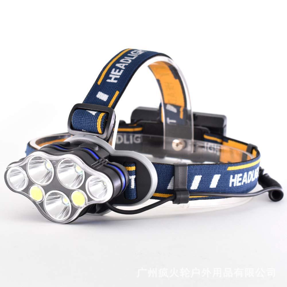 Camping Red Light Headlights, Outdoor Glare Charging Headlights, Led Three Four Five Six Lights Night Fishing Headlights,Black,8 Head
