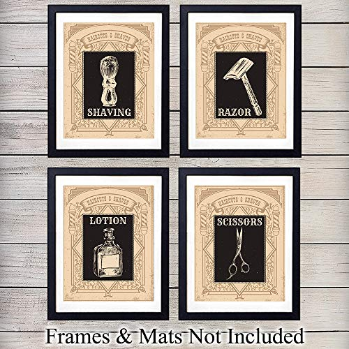 Barber Shop Wall Art Prints - Set of Four (8x10) Vintage Unframed Photos - Perfect Easy Gift - Great For Bathroom, Barbershop and Home Decor - Set of 4