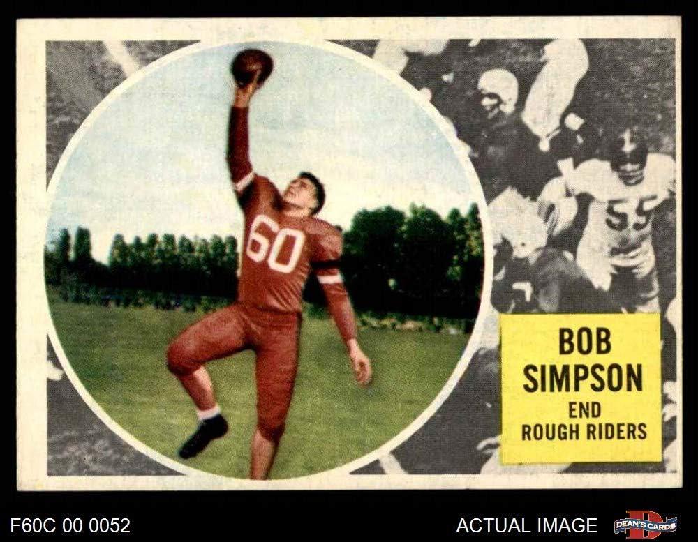 1960 Topps # 65 Bob Simpson (Football Card) Dean'S Cards 4 - Vg/Ex Windsor
