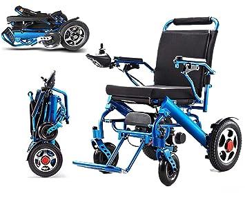 Silla de ruedas eléctrica plegable, silla de ruedas ligera portátil, (batería de iones