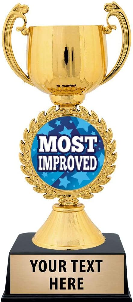 Crown Awards Personalized Most Improved Trophy 7.25 Gold Cup Most Improved Trophies with Free Custom Engraving Prime