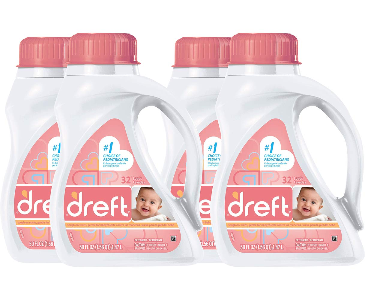 Dreft Stage 1: Newborn Hypoallergenic Liquid Baby Laundry Detergent (HE), Natural for Baby, Newborn, or Infant, 50 Ounce (32 Loads), (4 Count)