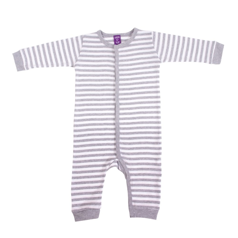 Living Crafts Schlafanzug ohne F/ü/ße 62//68 Grey-Melange//White Striped