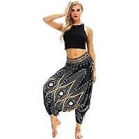 Fulision Women's Pilates Harem Pants Yoga Pants Drop Crotch Smock Waist Boho Woman Hippie New Digital Printed Ladies Sports Trousers