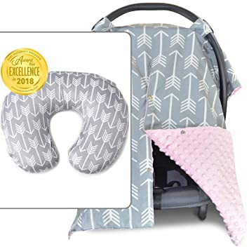 Amazon Com 2 In 1 Carseat Canopy With Nursing Cover Up Soft Pink And Nursing Pillow Cover Arrow Bundle Peekaboo Opening Large Infant Car Seat Canopy Baby
