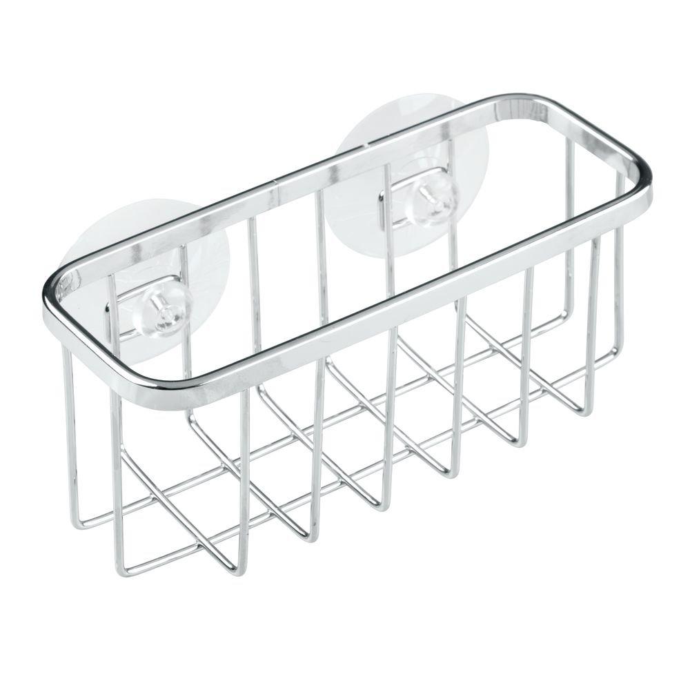 InterDesign Gia Suction Kitchen Sink Caddy, Sponge Holder for Kitchen Accessories - Stainless Steel